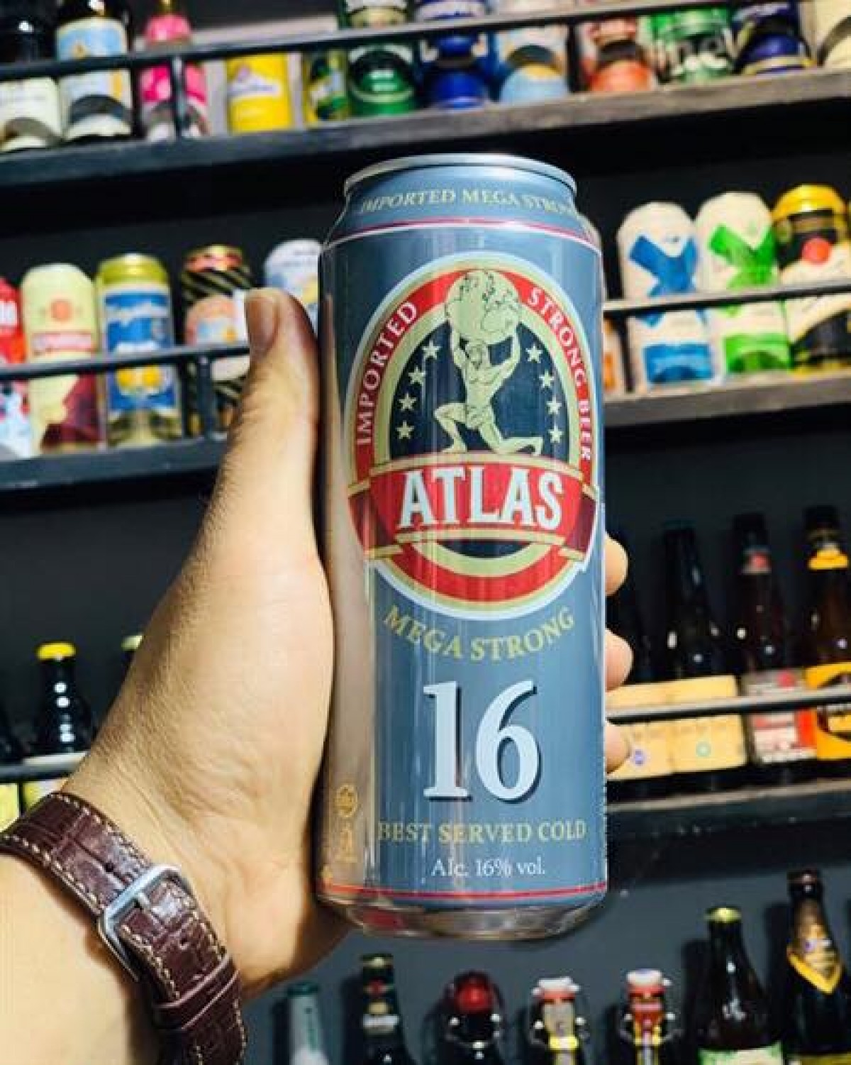 Bia Atlas Mega Strong 16%-Lon 500ml